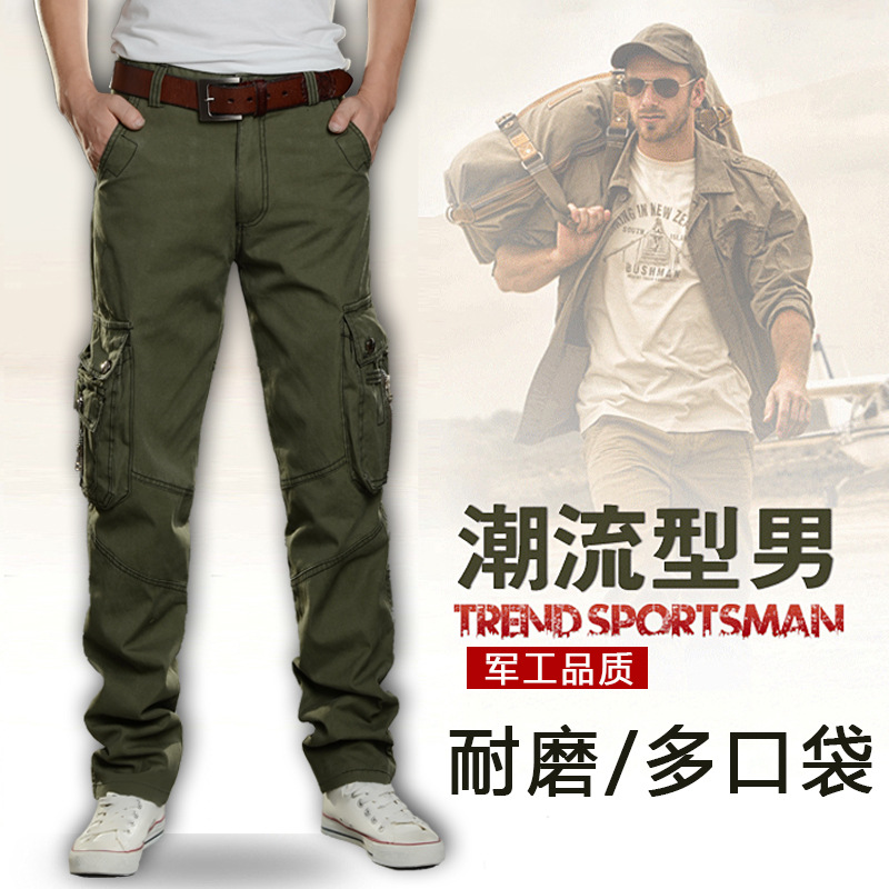 Cheap Bib Overall Men's Loose Straight Multi-pockets Casual Trousers Wear-Resistant Labor Safety Work Uniform Pants Work Pants