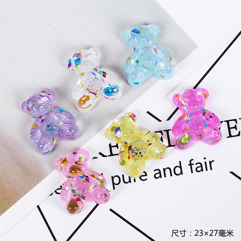 Simulation Sequins Transparent Bear Polymer Clay Charms For DIY Super Light Clay Slime Supplies Glue For Clay Resin Accessories