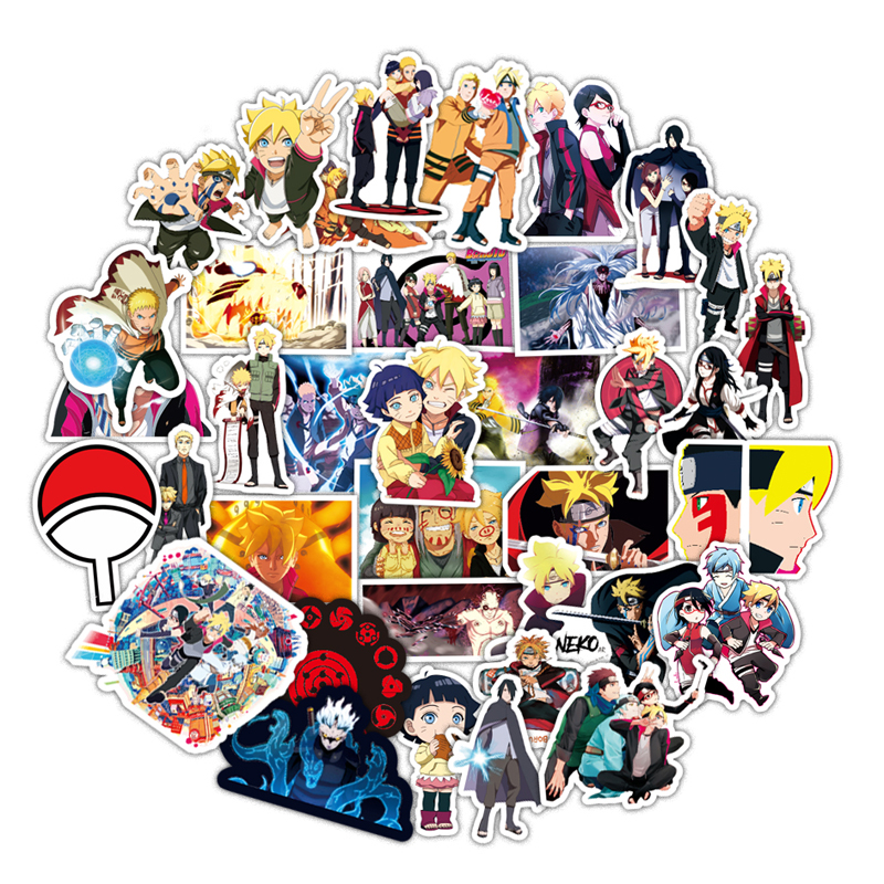 50PCS/set Waterproof Japan Anime BORUTO NARUTO Sticker For Laptop Car Trunk Skateboard Guitar Fridge Backpack Decal Toy Stickers