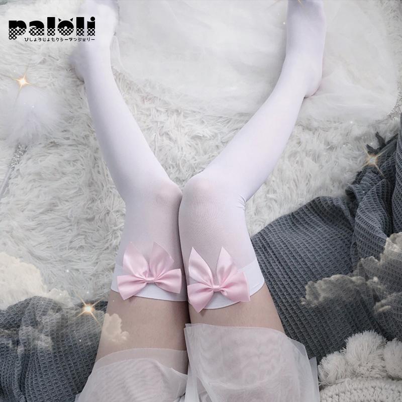 Милый Для женщин Колготки Чулочно-носочные изделия с розовым бантом, который не скользит, Пикантные Ботфорты высокие шелковые чулки; Колгот...