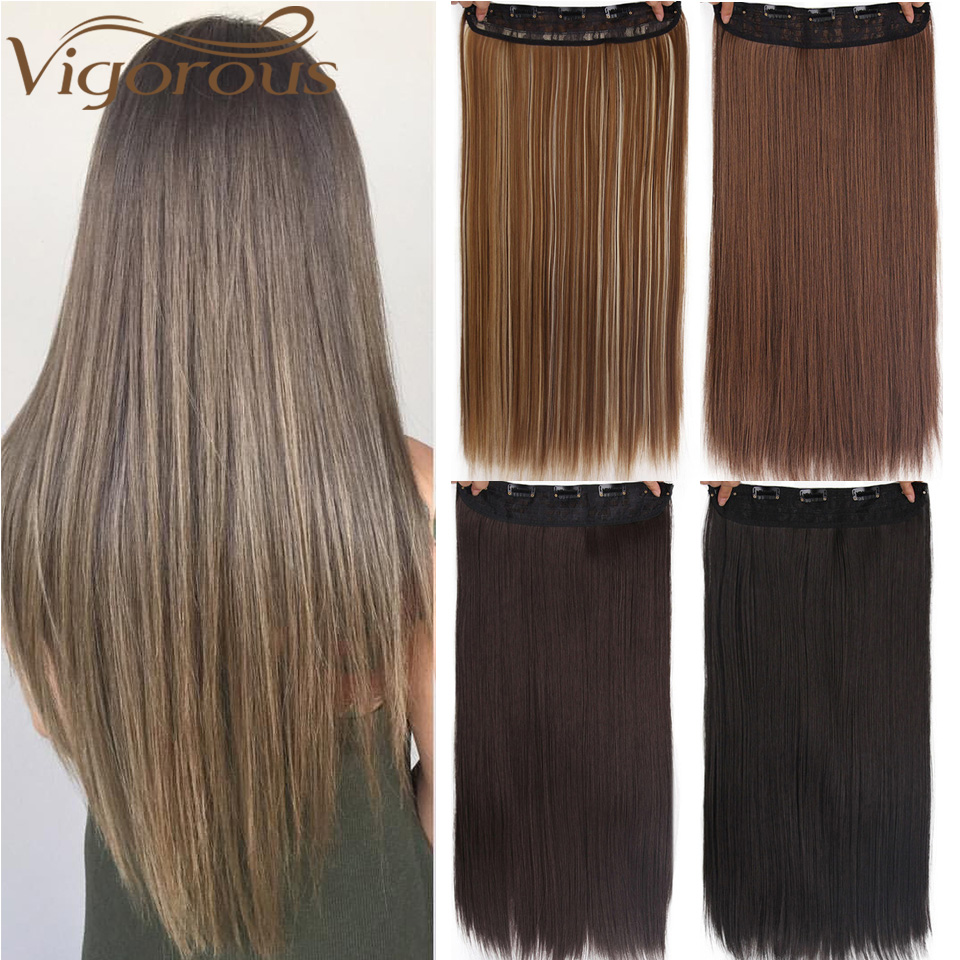 Vigorous Brown Blonde Black Long Straight Clip In One Piece Synthetic High Temperature Synthetic 5 Clips Hair Pieces