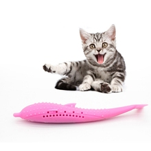 New Cat Fish Shape Toothbrush With Catnip Pet Eco-Friendly Silicone Molar Stick Teeth Cleaning Cats Toy