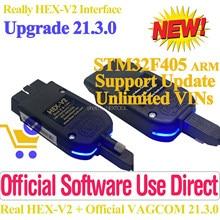 Mais novo vagcom 21.3 vag com 20.12 HEX-V2 interface de atualização para vw-audi carros de diagnóstico vag pode pro obdii scanner longo código perfet