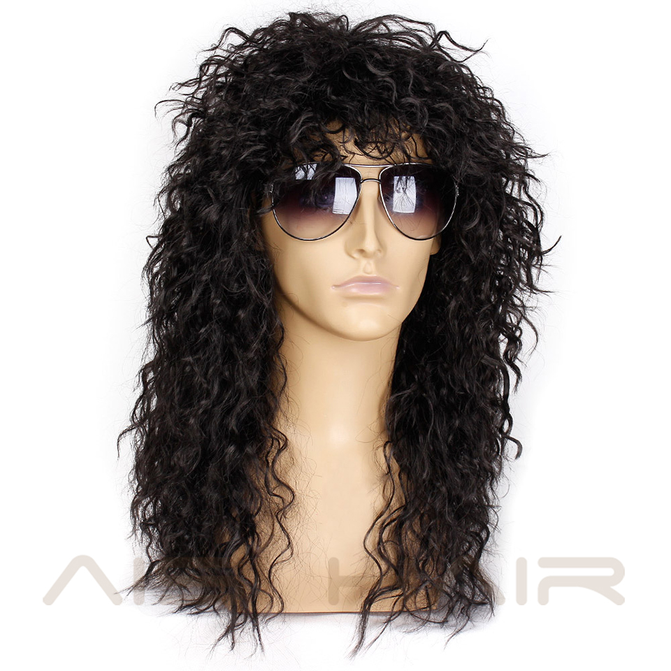 Image 5 - AISI HAIR Long Natural Black Curly wigs With Bang 20 Inches Synthetic Wigs  for Black Man/Women Heat ResistantSynthetic None-Lace  Wigs   -