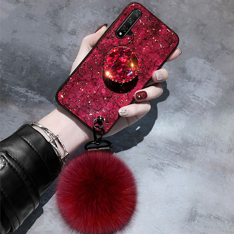 Luxury Fancy Diamond Cute Fox Pompom Flake <font><b>Case</b></font> For <font><b>Huawei</b></font> Honor <font><b>20</b></font> <font><b>Pro</b></font> 20i 20S 10 Lite 10i Nova 5 <font><b>Pro</b></font> 5i 4 4E 3E 2i Enjoy 9S 9E image