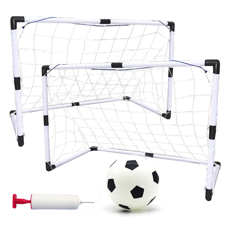 2 Sets Detachable Diy Portable Children Sports Soccer Goals Practice Scrimmage Game Football Gate Diy White with Soccer Ball and