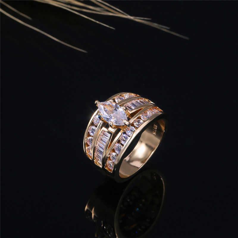 NEWBUY Luxury Gold Color Statement แหวนสำหรับผู้หญิง AAA + CZ Zircon Pave การตั้งค่าแหวนเครื่องประดับ Bijoux Femme