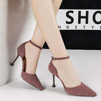 purple sandals high heels sexy office career women shoes stiletto tacones mujer pointed toe shallow chaussures femme NO.55 Shoes
