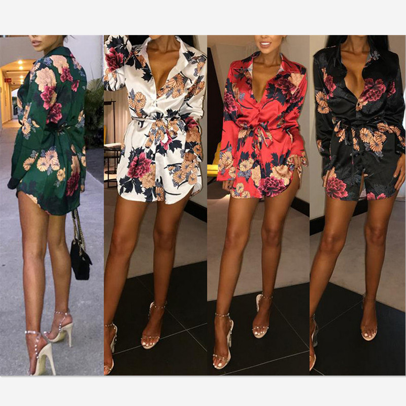 H396d76db1fd6471db79df4be2fdf35ecn Summer Sexy Women Silk Satin Shirt Dress Ladies Print Floral Long Sleeve Loose Short Mini Dresses Beach Party Dress