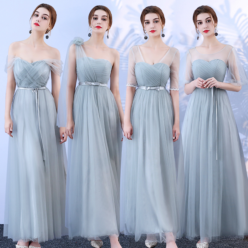Plus Size Tulle Junior Women Ladies Bridesmaid Dress Elegant Wedding Guest Party Sexy Dress Prom Azul Royal Vestido Bandage Gray