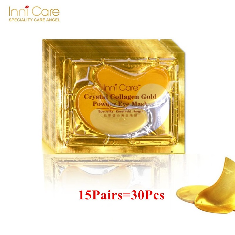 15Pairs Beauty Korean Cosmetics 24K Gold Crystal Collagen Eye Mask Sheet Mask Dark Circles Acne Eye Patches For Eye Skin Care