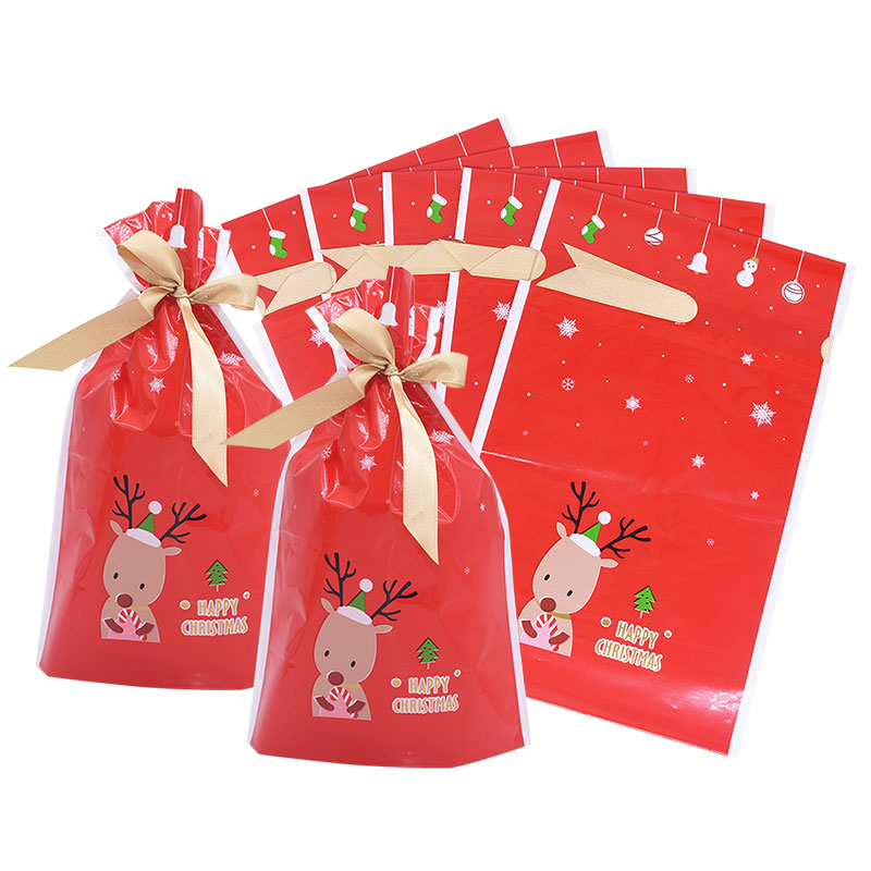 Red Elk Reindeer Merry Christmas Candy Bag Christmas Candy Cookies Pack Bag New Year Gift Plastic Bag New Year Party Favor