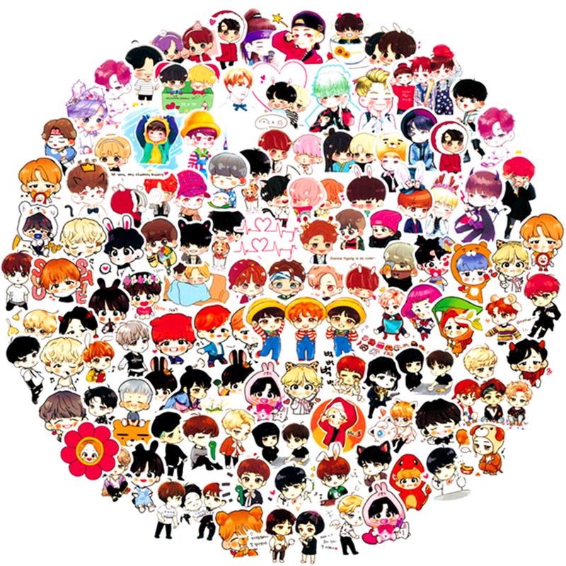 100 PCS PVC BTS Cartoon Stickers Waterproof Motorcycle Cars Do Not Repeat Stick Box Graffiti Stickers BT21 Stickers