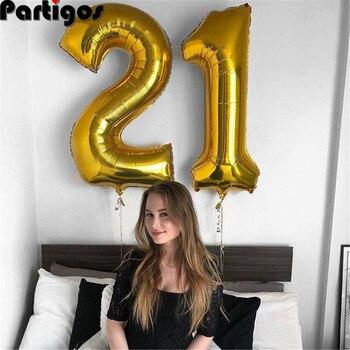 Globos de helio de aluminio con número dorado para adultos, globos de helio de 16, 20, 25, 30, 40 y 50 años, adornos fiestas de cumpleaños para adultos, 2 uds., 16/30/40 pulgadas