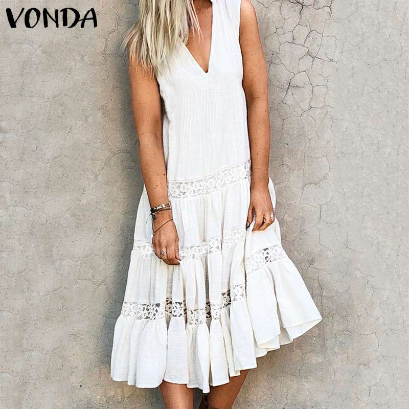 VONDA Women Mid-Calf Dress 2020 Summer Sexy Sleeveless Ruffle Hollow Dress Plus Size Vestidos Bohemian Vintage Solid Sundress