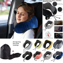 U-shaped Travel Pillow Memory Foam Neck Pillow Soft Slow Rebound Cervical Health Care Kit With 3D Eye Masks Earplugs Elegant Bag(China)
