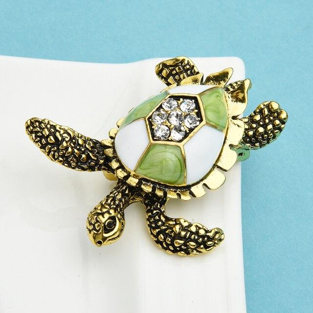 Wuli & baby-broche Vintage de esmalte verde con forma de tortuga para hombre y mujer, alfileres de regalo, joyería de Navidad para Año Nuevo 3
