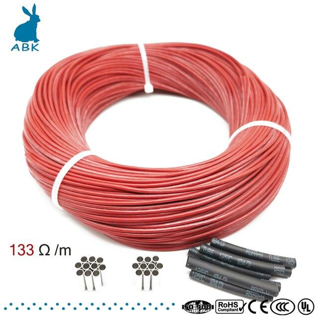 100 метров 133 Ом силиконовая резина углеродное волокно нагревательный кабель нагревательный провод DIY специальный нагревательный кабель для...