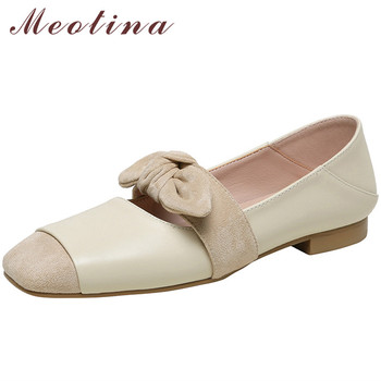 mljuese 2018 women flats brown color cow leather square toe flats spring comfortable oxfords women shoes size 34 43 office shoes Meotina Flat Shoes Natural Genuine Leather Women Shoes Bow Square Toe Flats Cow Leather Shallow Ladies Dress Footwear Beige 39