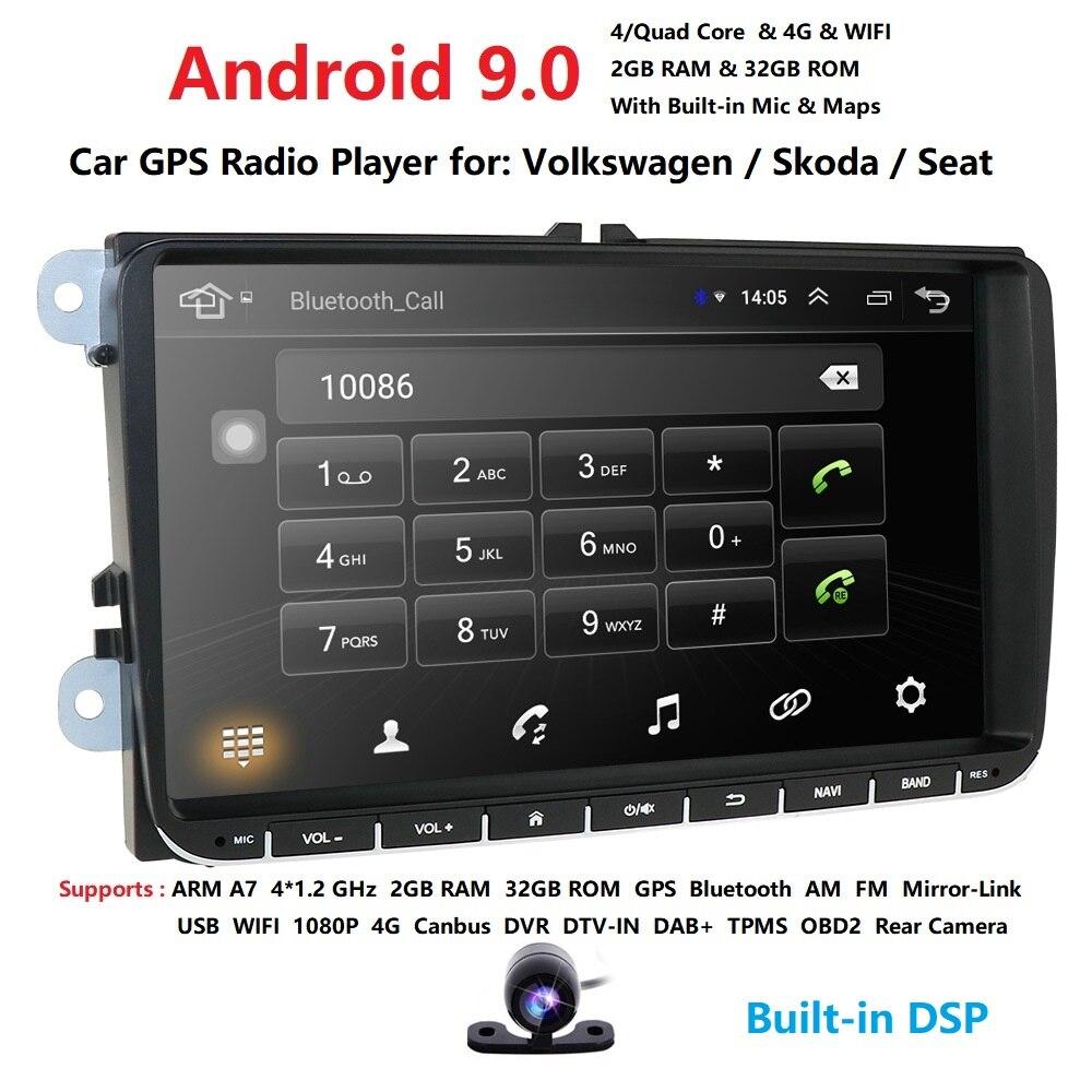 2g ram android9.0 reprodutor de multimídia do carro gps para v com golf/tiguan/skoda/fabia/rápido/seat/leon/skoda rds câmera de controle de roda de aço