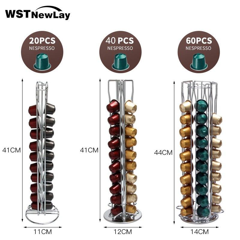 2020 Brand Nespresso Coffee Pod Holder Storage 60 Nespresso Capsules Stand Kitchen Metal Shelves Organization Capsules Rack