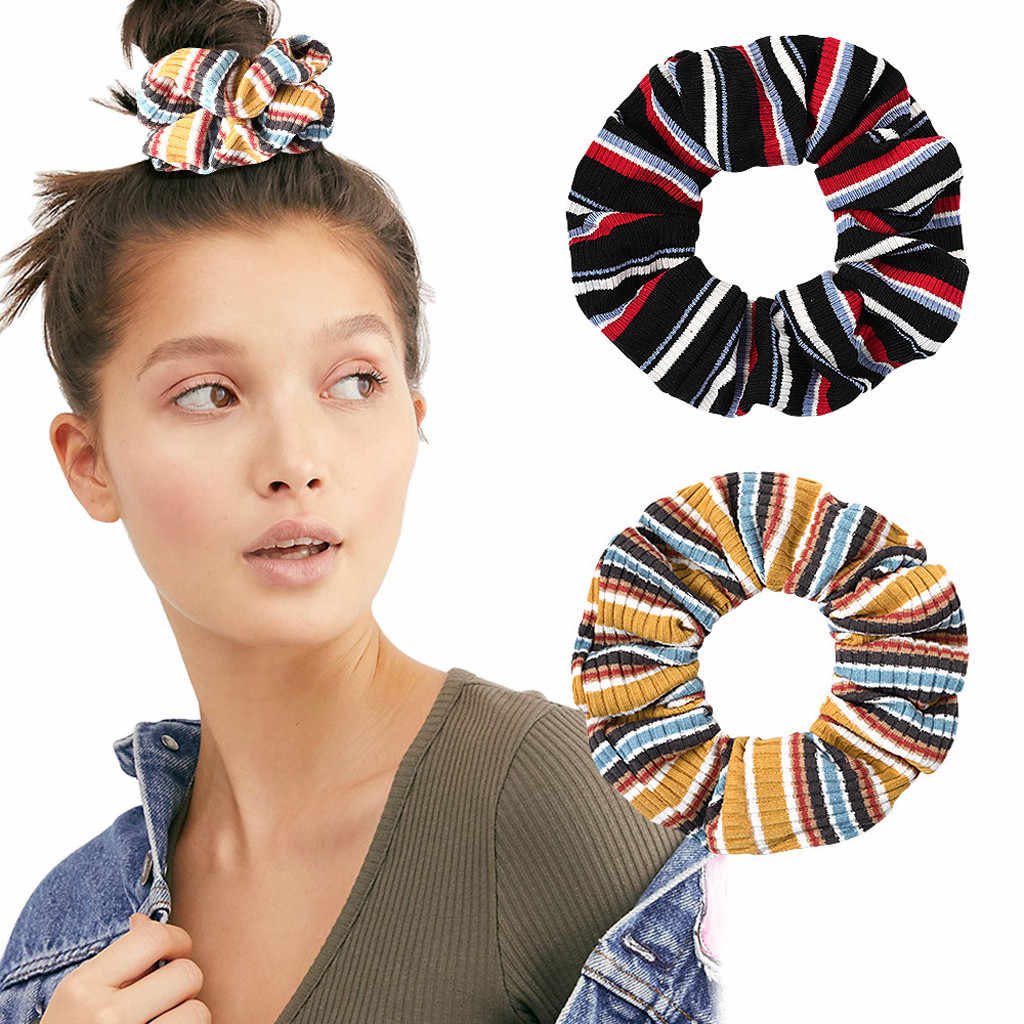 Women Rubber bands Stripe Print Female Hairband Elastic Hair Ring Head Hoop Fashion Sweet Girls Casual Ladies Hair Accessories