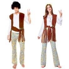 Umorden Retro 60s 70s Disco Hippie Hippy piosenkarka hip-hopowa kostium kobiety mężczyźni para Halloween Purim stroje imprezowe przebranie