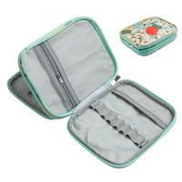 Bolsa de aguja tejida para mujer, bolsa de ganchillo estampada, bolsa organizadora para almacenamiento, funda con gancho de ganchillo para tejer