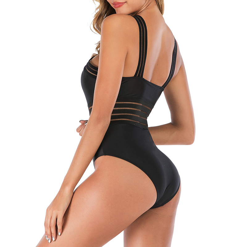 One Piece Swimsuit Women 2020 Sexy High Neck Bandage Cross Neck Monokini Black Swimwear Women Bathing Suits Swimming Beachwear 5