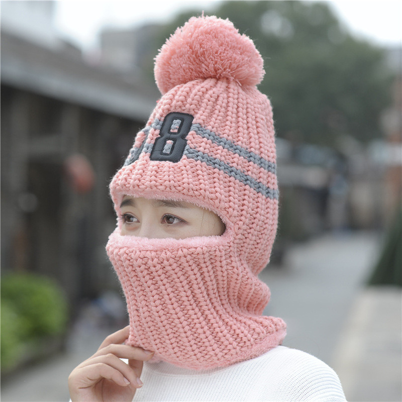 Hot Selling Multi Functional Knitted Cap Balaclava Mask Winter Wool Hats For Women Beanies Thick Mask Pom Poms Skullies Hat