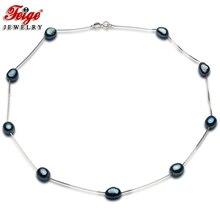 Design de moda 925 prata esterlina corrente com natural de água doce pérola colar presente das mulheres contas colar pérola jóias feige