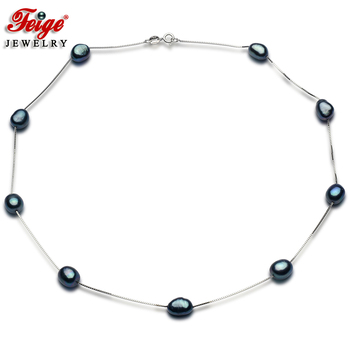 Fashion Design 925 Sterling Silver Chain with Natural Freshwater Pearl Necklace Womens Gift Beads Jewelry FEIGE
