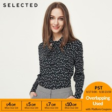 SELECTED Women's Cut-out Long-sleeved Lace-up V Neckline Tops S|4183W4502(China)