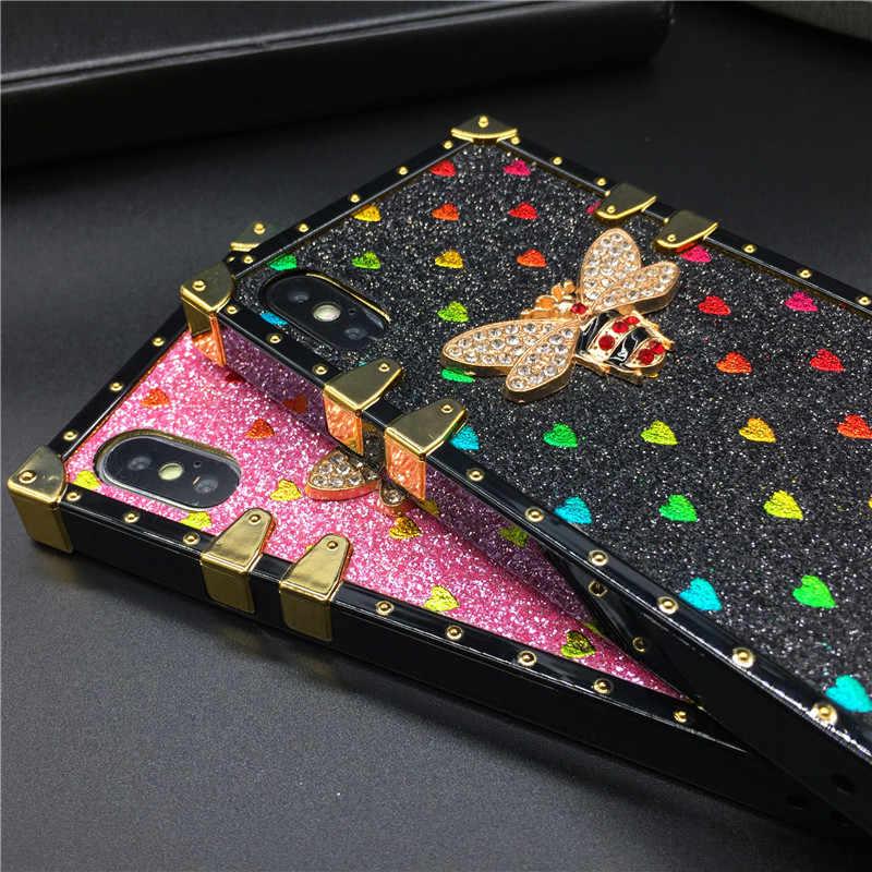 Persegi Mewah Case untuk iPhone X XS Max XR Fashion Heart Glitter Lebah Penutup Ponsel Case untuk iPhone 11 Pro Max 7 8 PLUS 6 6S Tritone