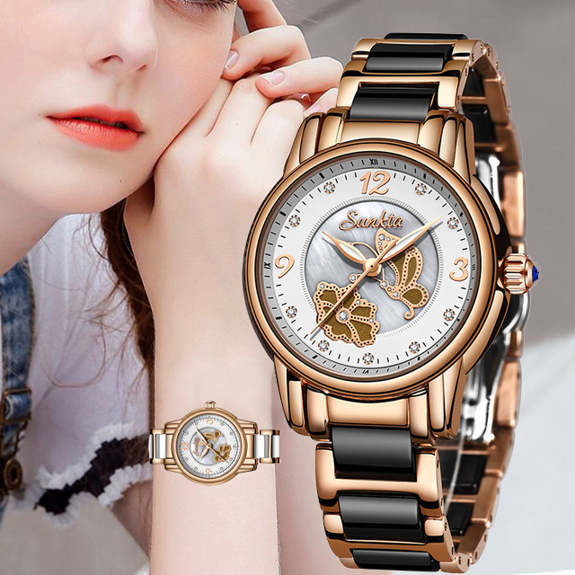 SUNKTA 럭셔리 여성 시계 스테인레스 스틸 패션 디자인 팔찌 시계 숙녀 손목 시계 시계 Relogio Feminino Montre Femme