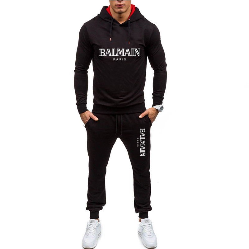 Men Casual Set Hooded Solid Patchwork 2020 Autumn New Men's Sportswear Hoodies+Pants 2 Pieces  Hip Hop Street Loose Tracksuits