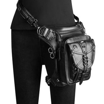Luxury Steam Punk Unisex  Rivet Waist Messenger Chest Bag Hip Hop PU Leather Biker Shoulder Leg Pack Multi-Function Backpack