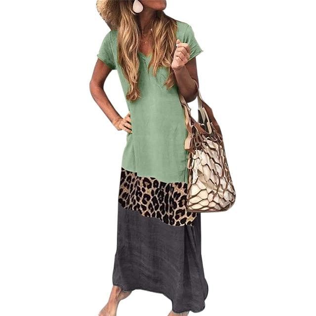 CALOFE Vintage Leopard Long Dress Plus Size Loose Beach Summer Dress Fashion Casual Women Dress Patchwork Short Sleeve Vestido