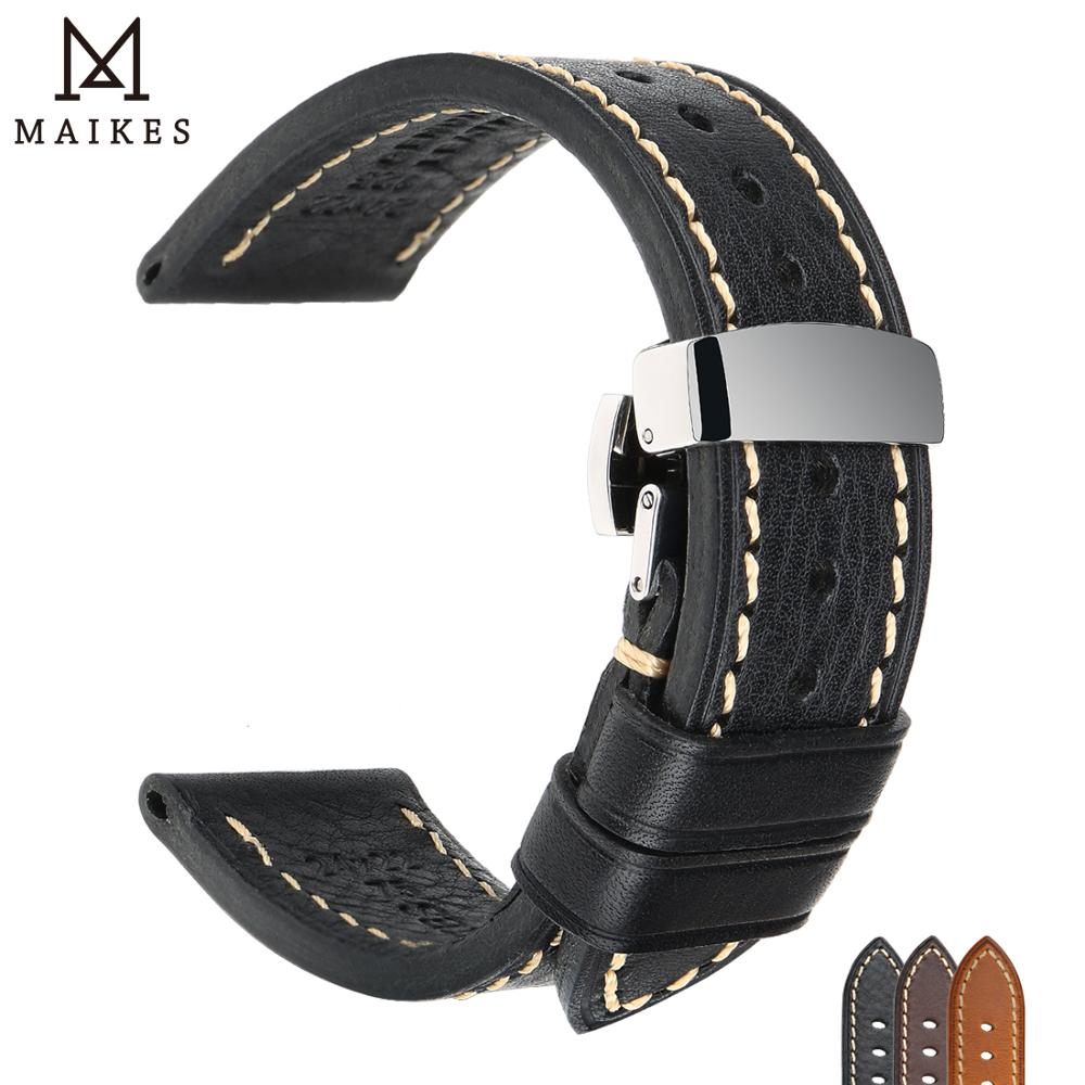 MAIKES Handmade Watch Band Genuine Cow Leather Watch Strap With Butterfly Buckle Bracelet For MONTBLANC Tudor Watchbands