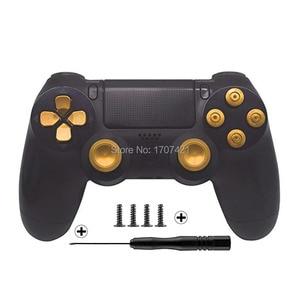 Image 1 - أزرار متحكم تناظرية معدنية مخصصة باللون الذهبي لأزرار الرصاصة من الكروم D pad لأجهزة تحكم Sony PS4