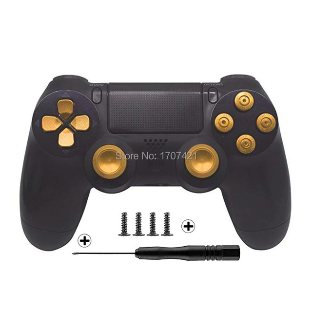 Gold Benutzerdefinierte Metall Thumbsticks Analog Controller Kugel Tasten Chrome D pad Für Sony PS4 Controller