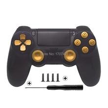 Złoty niestandardowe metalowe Thumbsticks analogowy kontroler przyciski kulowe chrom D pad dla Sony PS4 kontrolerów