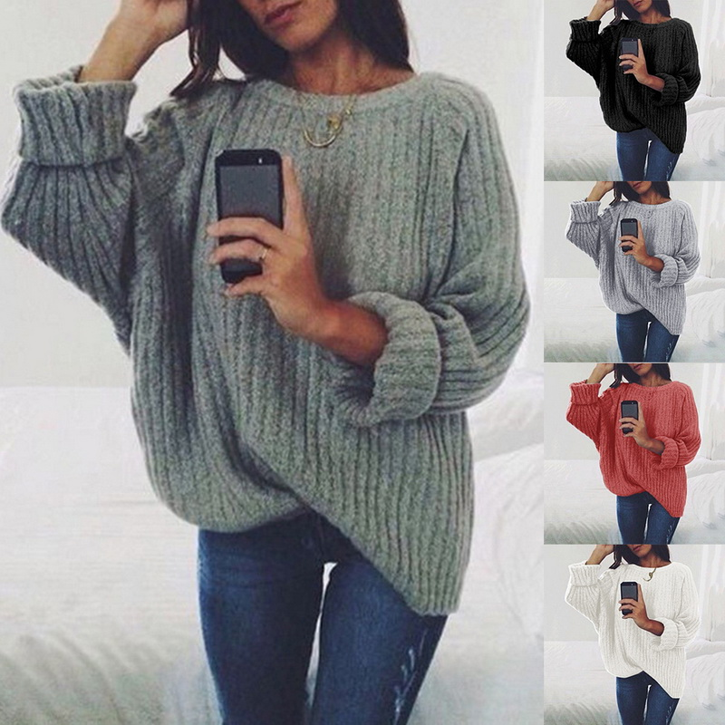 New Autumn Casual Sweater 2019 Women Loose Pullovers Korean Style Tops O Neck Fashion Jumper Solid Color Knittwear