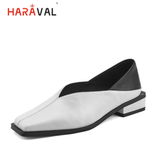HARAVAL Fashion elegant womens shoes shallow leather square head low heel mixed color ladies flat casual P61