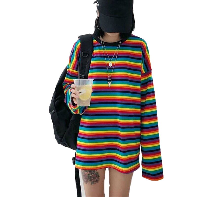 Rainbow Striped T-shirt Autumn Winter Harajuku Long Sleeve T-shirt Large Size Korean Women's Causal  Women Clothes