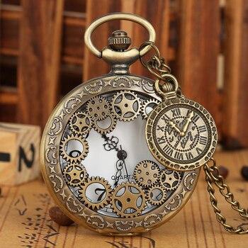 цена на Creative Hollow-out Case Pocket Watch Men Practical Arabic Numerals Clock Women Generous Bronze Quartz Pendant Necklace Gift