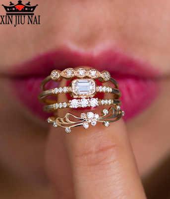 זהב פשוט נסיכת נשים של טבעת משובץ עם זירקון אישיות DIY גבירותיי מקרית מסיבת תכשיטי אופנה מתנת אירוסין