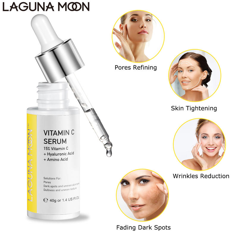 Lagunamoon Vitamin C Serum 40Ml Organic Anti Wrinkle Reducer Formula For Face Moisturizng Anti Aging Anti Wrinkle Serum
