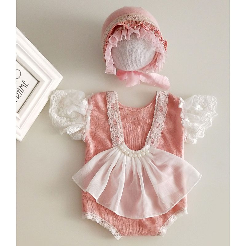 2Pcs Newborn Photography Props Suit Lace Romper + Hat Set Knit Outfits Clothing D08C