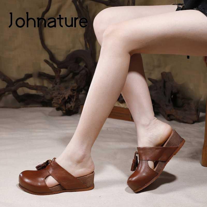 Johnature Frauen Hausschuhe Echtem Leder 2020 Neue Frühling Sommer Außerhalb Keile Fringe Rutschen Handgemachte Retro Damen Sandalen